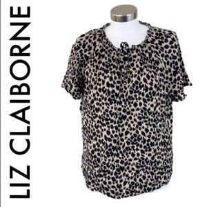 LIZ CLAIBORNE BLACK TAN LEOPARD TOP SIZE LARGE